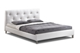 Baxton Studio Barbara White Modern Bed with Crystal Button Tufting - Queen Size affordable modern furniture in Chicago, bedroom furniture, Barbara White Modern Bed with Crystal Button Tufting - Queen Size