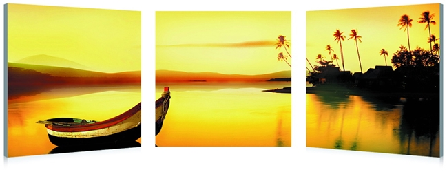 Golden Sunset Mounted Photography Print Triptych affordable modern furniture in Chicago, Golden Sunset Mounted Photography Print Triptych, Wall Art Chicago
