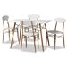 Baxton Studio Wayne Modern and Contemporary White and Walnut Finished Metal 5-Piece Dining Set - BSOLY-N0537A-5PC Dining Set
