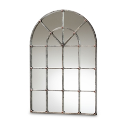 Baxton Studio Newman Vintage Farmhouse Antique Silver Finished Arched Window Accent Wall Mirror Affordable modern furniture in Chicago, classic bedroom furniture, modern mirror, cheap mirror