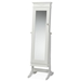 Baxton Studio Bimini White Finish Wood Crown Moulding Top Free Standing Full Length Cheval Mirror Jewelry Armoire - BSOGLD17047-White