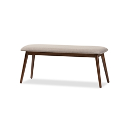 "Baxton Studio Flora Mid-Century Modern Light Grey Fabric and ""Oak"" Medium Brown Finishing Wood Dining Bench Affordable modern furniture in Chicago, classic dining room furniture, modern dining bench, cheap dining bench"