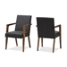Baxton Studio Andrea Mid-Century Modern Dark Grey Upholstered Wooden Armchair (Set of 2) - BSOBBT5267-Dark Grey-Chair