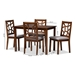 Baxton Studio Abilene Mid-Century Walnut Finished and Grey Fabric Upholstered 5-Piece Dining Set - BSORH3010C-Walnut/Grey Dining Set