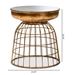 Baxton Studio Andreia Modern and Contemporary Antique Gold Finished Metal and Mirrored Glass Cage Accent Table - BSOHE17T064L-ET