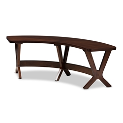 Baxton Studio Berlin Mid-Century Modern Walnut Finished Wood Curved Dining Bench Affordable modern furniture in Chicago, classic dining room furniture, modern bench, cheap bench