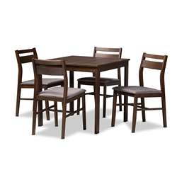 Baxton Studio Lovy Modern and Contemporary Gray Fabric Upholstered Dark Walnut-Finished 5-Piece Wood Dining Set Affordable modern furniture in Chicago, classic dining room furniture, modern dining sets, cheap dining sets