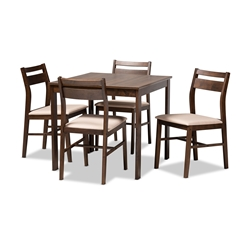 Baxton Studio Lovy Modern and Contemporary Beige Fabric Upholstered Dark Walnut-Finished 5-Piece Wood Dining Set Affordable modern furniture in Chicago, classic dining room furniture, modern dining sets, cheap dining sets