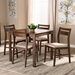 Baxton Studio Lovy Modern and Contemporary Beige Fabric Upholstered Dark Walnut-Finished 5-Piece Wood Dining Set - BSOLovy Dining Set-Beige/Dark Walnut
