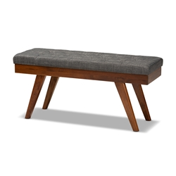 Baxton Studio Alona Mid-Century Modern Medium Grey Fabric Upholstered Wood Dining Bench Affordable modern furniture in Chicago, classic living room furniture, modern bench size, cheap bench size