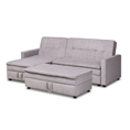 Baxton Studio Noa Modern and Contemporary Light Grey Fabric Upholstered Left Facing Storage Sectional Sleeper Sofa with Ottoman Affordable modern furniture in Chicago, classic living room furniture, modern sleeper sofa, cheap sleeper sofa