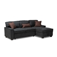 Baxton Studio Emile Modern and Contemporary Dark Grey Fabric Upholstered Right Facing Storage Sectional Sofa with Pull-Out Bed Affordable modern furniture in Chicago, classic living room furniture, modern sleeper sofa, cheap sleeper sofa