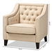 Baxton Studio Vienna Classic Retro Modern Contemporary Beige Fabric Upholstered Button-tufted Armchair - BSODB-187-Beige/Dual-Tone-CC