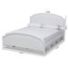 Baxton Studio Elise Classic and Traditional Transitional White Finished Wood Queen Size Storage Platform Bed - BSOMG0038-White-Queen