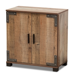 Baxton Studio Cyrille Modern and Contemporary Farmhouse Rustic Finished Wood 2-Door Shoe Cabinet Affordable modern furniture in Chicago, classic living room furniture, modern storage, cheap storage