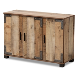 Baxton Studio Cyrille Modern and Contemporary Farmhouse Rustic Finished Wood 3-Door Shoe Cabinet Affordable modern furniture in Chicago, classic living room furniture, modern storage, cheap storage