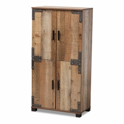 Baxton Studio Cyrille Modern and Contemporary Farmhouse Rustic Finished Wood 4-Door Shoe Cabinet Affordable modern furniture in Chicago, classic living room furniture, modern storage, cheap storage