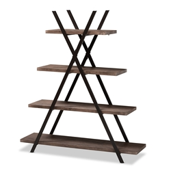 Baxton Studio Fiera Industrial Rustic Walnut Finished Wood and Black Metal 4-Tier Living Room Display Shelf Affordable modern furniture in Chicago, classic living room furniture, modern storage, cheap storage