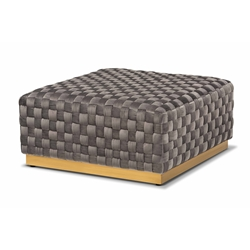 Baxton Studio Noah Luxe and Glam Grey Velvet Fabric Upholstered and Gold Finished Square Cocktail Ottoman Affordable modern furniture in Chicago, classic living room furniture, modern ottoman, cheap ottoman