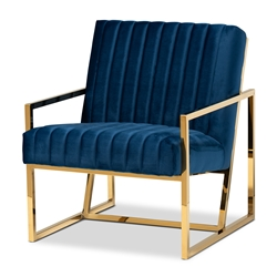Baxton Studio Janelle Luxe and Glam Royal Blue Velvet Fabric Upholstered and Gold Finished Living Room Accent Chair Affordable modern furniture in Chicago, classic living room furniture, modern accent chair, cheap accent chair