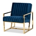 Baxton Studio Janelle Luxe and Glam Royal Blue Velvet Fabric Upholstered and Gold Finished Living Room Accent Chair - BSOTSF-7754D-Royal Blue/Gold-CC