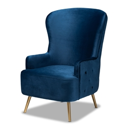 Baxton Studio Melissa Luxe and Glam Royal Blue Velvet Fabric Upholstered and Gold Finished Living Room Accent Chair Affordable modern furniture in Chicago, classic living room furniture, modern accent chair, cheap accent chair