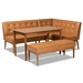 Baxton Studio Arvid Mid-Century Modern Tan Faux Leather Upholstered and Walnut Brown Finished Wood 4-Piece Dining Nook Set