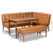 Baxton Studio Arvid Mid-Century Modern Tan Faux Leather Upholstered and Walnut Brown Finished Wood 4-Piece Dining Nook Set - BSOBBT8051-Tan/Walnut-4PC Dining Nook Set