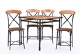 Baxton Studio Broxburn Light Brown Wood & Metal 5-Piece Pub Set Affordable modern furniture in Chicago,Broxburn Light Brown Wood & Metal 5-Piece Pub Set, Bar Furniture Chicago