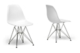 White Molded Plastic Wire Base Side Chair