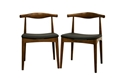 Baxton Studio Sonore Solid Wood Mid-Century Style Dining Chair (Set of 2) affordable modern furniture in Chicago, sonoro solid wood mid-century style dining chair, dining room furniture Chicago