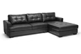 Baxton Studio Dobson Black Leather Modern Sectional Sofa Affordable modern furniture in Chicago, Baxton Studio Dobson Black Leather Modern Sectional Sofa,  Living Room Furniture  Chicago