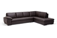 Baxton Studio Brown leather sofa sectional with chaise affordable modern furniture in Chicago, Brown leather sofa sectional with chaise, sleek sofa, Living Room Furniture Chicago