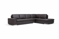 Baxton Studio Callidora Brown Leather Sectional Sofa with Right Facing Chaise affordable modern furniture in Chicago, Callidora Brown Leather Sectional Sofa with Right Facing Chaise, Living Room Furniture Chicago
