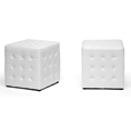 Baxton Studio Siskal White Modern Cube Ottoman (Set of 2) affordable modern furniture in Chicago, Living Room Furniture, Siskal White Modern Cube Ottoman