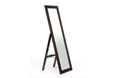 Baxton Studio Lund Dark Brown Wood Modern Mirror with Built-In Stand