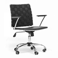 Baxton Studio Vittoria Black Leather Modern Office Chair affordable modern furniture in Chicago, Home Office Furniture, Vittoria White Leather Modern Office Chair