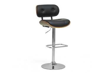 Baxton Studio Leona Walnut and Black Modern Bar Stool affordable modern furniture in Chicago, Baxton Studio Leona Walnut and Black Modern Bar Stool, Bar Furniture, Chicago