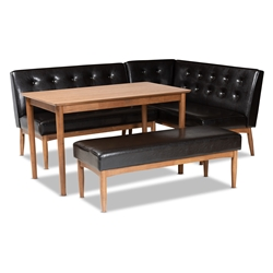 Baxton Studio Arvid Mid-Century Modern Dark Brown Faux Leather Upholstered 4-Piece Wood Dining Nook Set